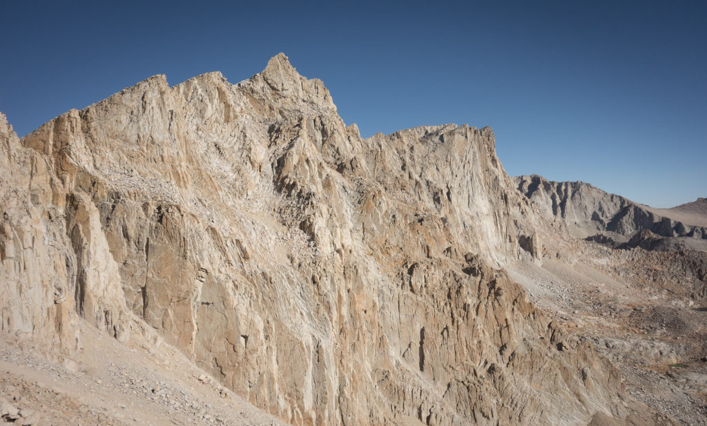 Looking back on the summit of Mt. Whitney from the eastern side